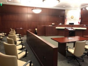 Interior view of the jury seats, part of the Collier County Supervisor of Elections building renovation by DEC Contracting Group