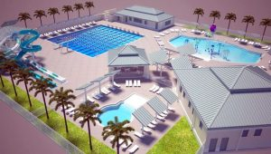 This rendering of the Eagle Lakes Aquatic Center project shows the heate pool, children's activity poool, wading pool, two waterslides, and several springboards along with a bath house.
