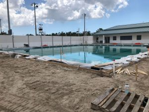 This pool patio, constructed by DEC Contracting Group for Eagle Lakes Community Park, features a solidly-constructed pool deck.