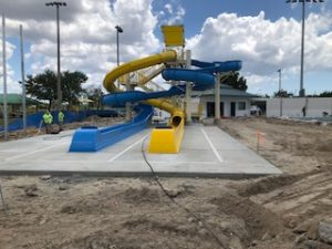 DEC Contracting Group constructed a 122-foot closed waterslide and its companion, a 177-foot open waterslide for the Eagle Lakes Aquatic Center