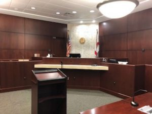 Interior view of the judge's booth, part of the Collier County Supervisor of Elections building renovation by DEC Contracting Group