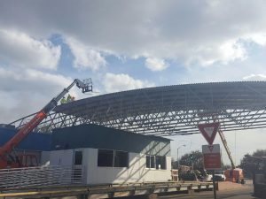 DEC Contracting Group shows off the Scale House Canopy under construction.