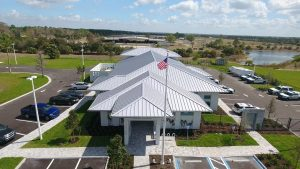 A front, exterior view of DEC Contracting Group's work on this Collier County Sheriff's Substation.