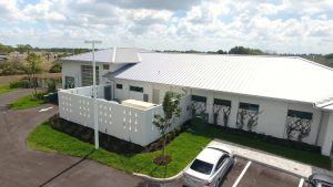 A rear, exterior view of DEC Contracting Group's work on this Collier County Sheriff's Substation from the parking lot.