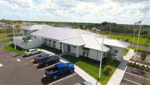 A rear, exterior view from the parking lot of DEC Contracting Group's work on this Collier County Sheriff's Substation.